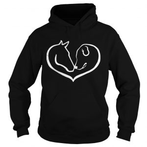Horse and Dog Shape Of Heart shirt Hoodie