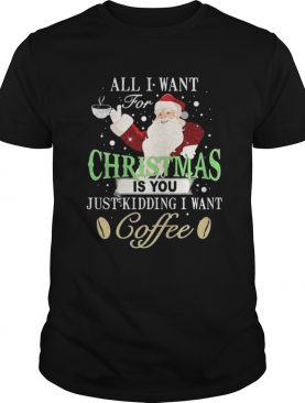 Santa Claus all I want for Christmas is you just kidding I want coffee shirt