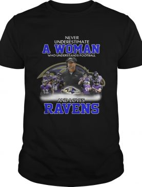 Never Underestimate a Woman Who Understands Football And Loves Ravens Tshirt