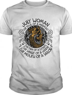 Mermaid with harp July woman the soul of mermaid the fire of a lioness shirt