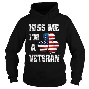 Kiss me Im a veteran American shamrock flag shirt Ladies V-Neck