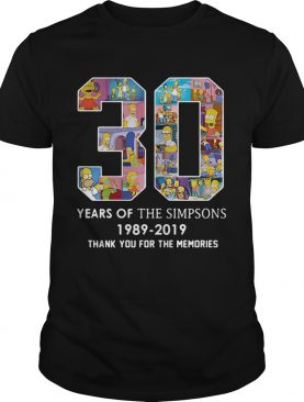 30 years of the Simpsons 1989 2019 thank you for the memories shirt