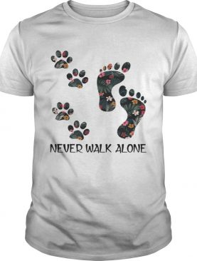 Never Walk Alone Floral Dog Lover Footprint Version – T-shirt