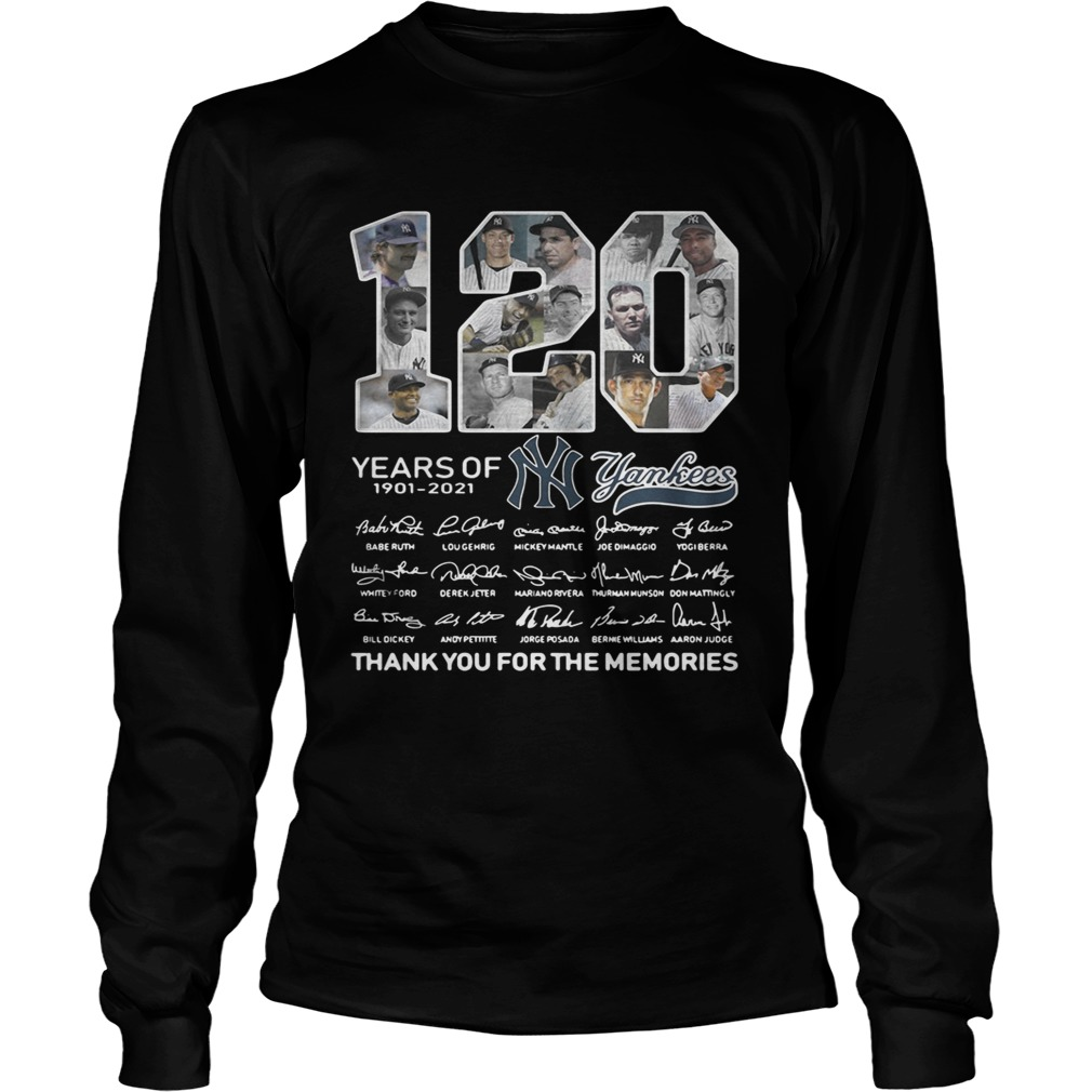 120 years of New York Yankees signature thank you for the LongSleeve
