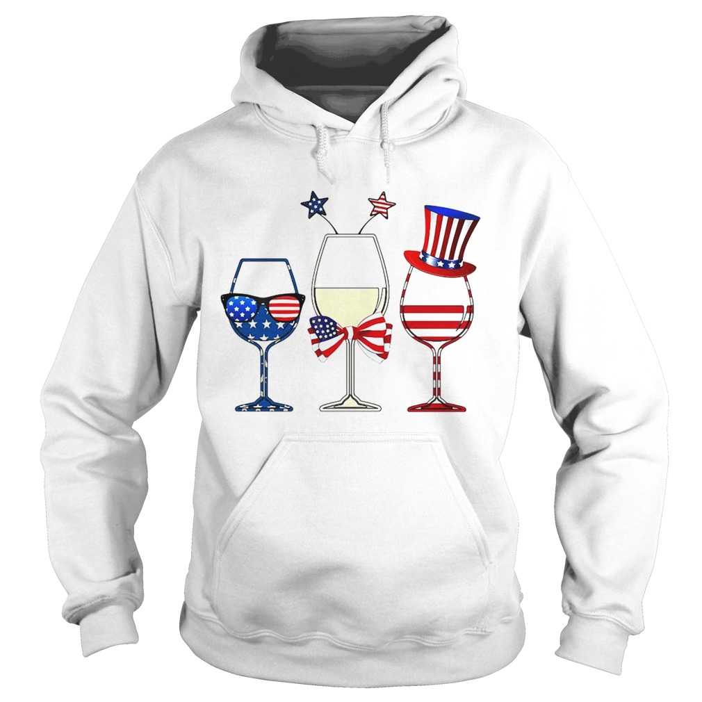 Blue White Red Wine glasses 4th of July Hoodie