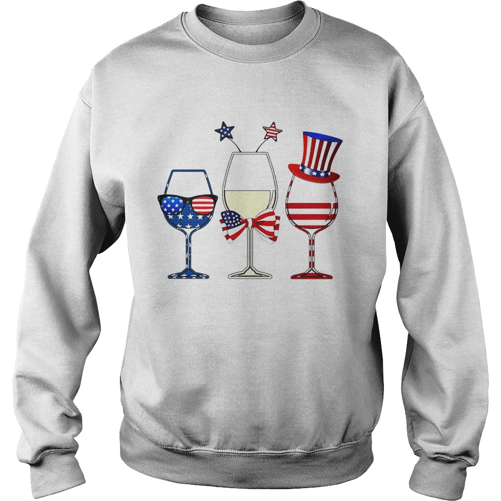 Blue White Red Wine glasses 4th of July Sweatshirt