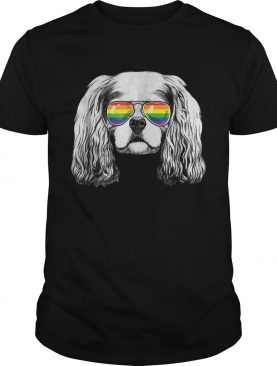 Cavalier king charles spaniel Gay Pride Flag Sunglasses shirt