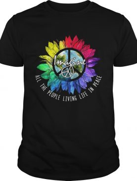 Hippie sunflower imagine allthe people living life in peace shirt