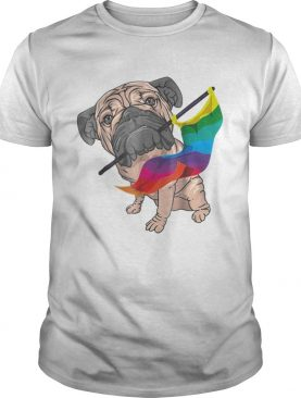 Original Cool Pug With Rainbow Lgbt Gay Pride Flag Dog Gift Shirt