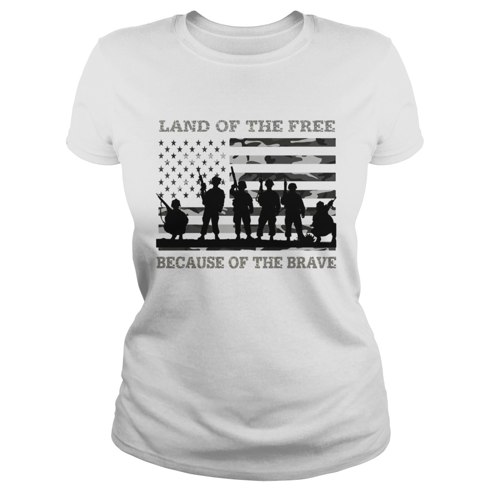 Veteran land of the free because of the brave American flag Classic Ladies