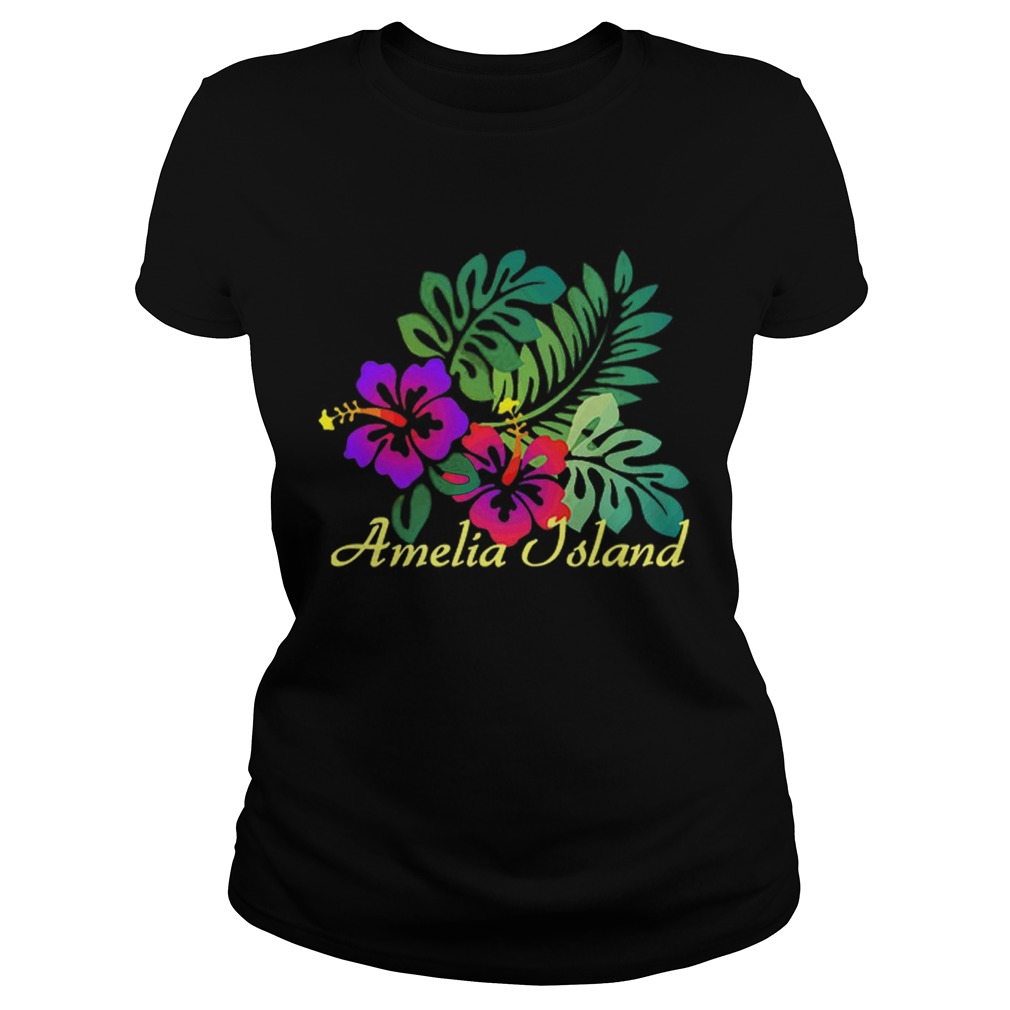 Amelia Island Beach Tropical Flower Surf Vacay Premium Classic Ladies