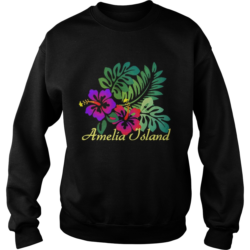 Amelia Island Beach Tropical Flower Surf Vacay Premium Sweatshirt