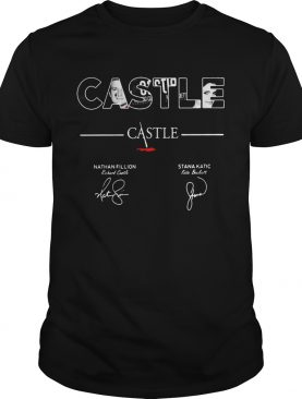 Castle Nathan Fillion Stana Katic signatures shirt