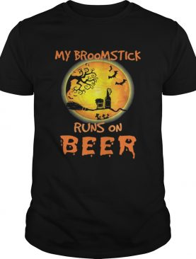 Official My Broomstick Runs On Beer Moon Funny Drinking Halloween shirt