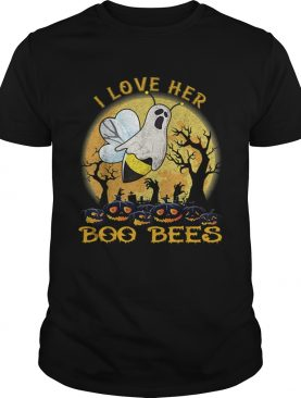 I Love Her Boo Bees Couples Halloween Costume Moon Pumpkins shirt