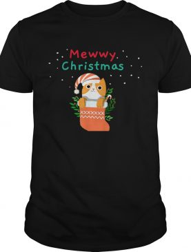 Mewwy Christmas Funny Ginger Tuxie Kitty Cat Lovers Holiday TShirt