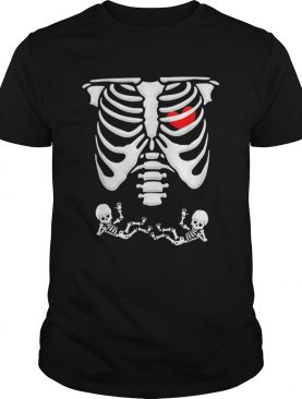 Twins Pregnancy Announcement Skeleton Xray Funny Halloween shirt