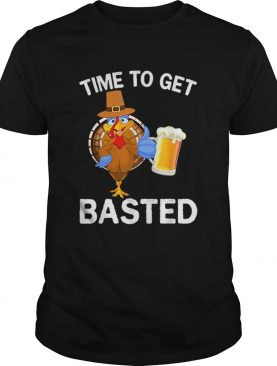 Funny Time To Get Basted Beer Drinking Thanksgiving Turkey shirt