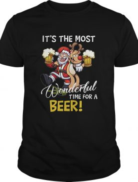Its The Most Wonderful Time For A Beer Santa Xmas shirt