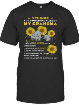 Elephant Sunflower 5 Things You Should Know About My Grandma T-Shirt