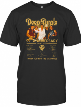 Deep Purple 52Nd Anniversary 1968 2020 Signatures Thank You For The Memories T-Shirt