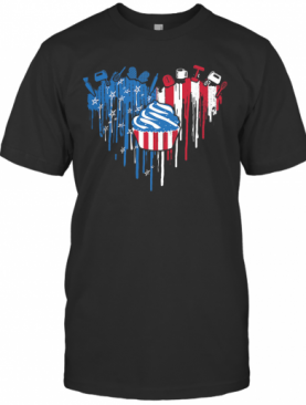 Cake Heart American Flag Veteran Independence Day T-Shirt