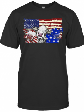 Cows 2 Flag US American Flag Veteran Independence Day T-Shirt