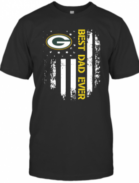 Green Bay Packers Best Dad Ever American Flag T-Shirt