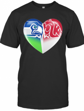 Seattle Seahawks And Washington State Cougars Heart T-Shirt