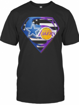 Superhero Dallas Cowboys And Los Angeles Lakers Diamond American Flag Independence Day T-Shirt