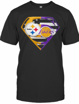Superhero Pittsburgh Steelers And Los Angeles Lakers Diamond American Flag Independence Day T-Shirt