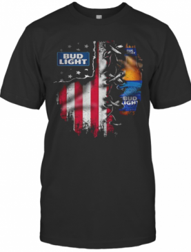 Bud Light Beer American Flag Independence Day T-Shirt