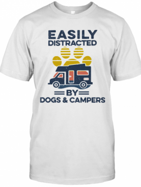 Easily Distracted By Dogs And Campers Footprint Vintage Retro T-Shirt