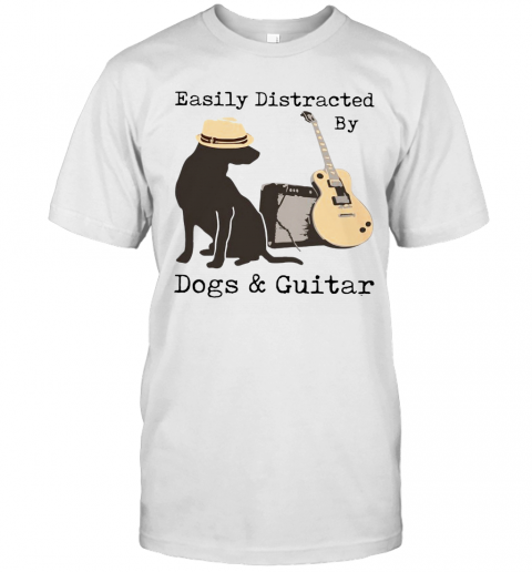 Easily Distracted By Guitar And Dogs T Shirt Classic Mens T shirt