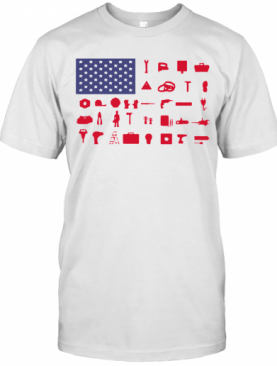 Electrician Independence Day American Flag T-Shirt