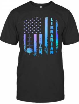 Librarian Heartbeat American Flag Independence Day T-Shirt