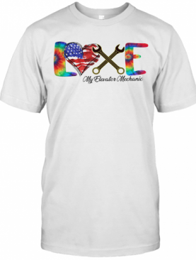 Love My Elevator Mechanic American Flag Independence Day T-Shirt