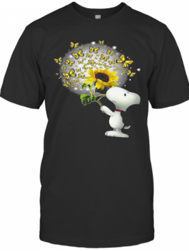Snoopy Sunflower And Butterfly T-Shirt