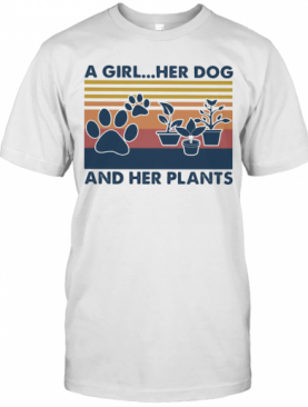 A Girl Her Dog And Her Plants Vintage Retro T-Shirt