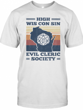 High Wis Con Sin Evil Cleric Society Game Vintage Retro T-Shirt