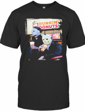 Halloween Horror Characters Drinking Dunkin Donuts T-Shirt