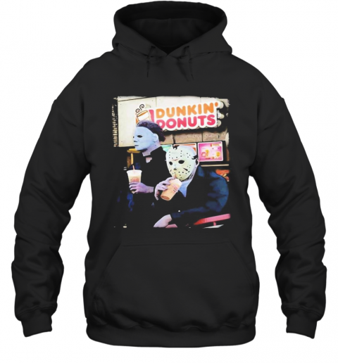 Halloween Horror Characters Drinking Dunkin Donuts T-Shirt Unisex Hoodie