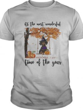 Halloween witch dachshund it's the most wonderful time of the year leaves tree shirt