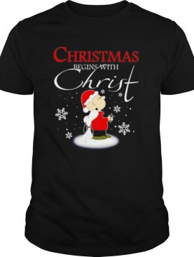 Snoopy and Charlie Brown Christmas begins with Christ shirt