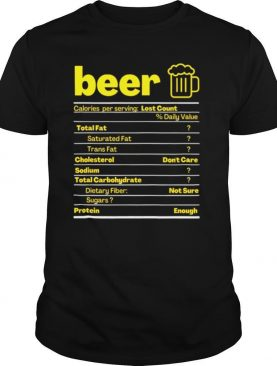 Beer Nutrition Facts Label Thanksgiving Christmas shirt