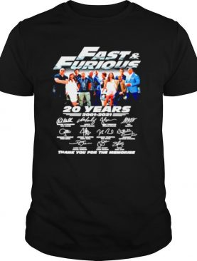 Fast and Furious 20 years 2001 2021 thank you for the memories shirt