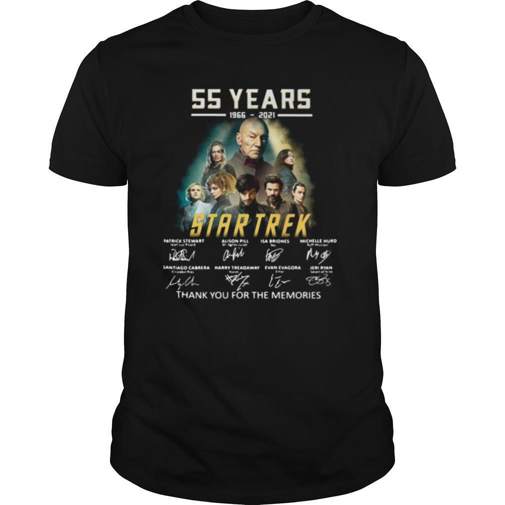 55 years 1966 2021 Star Trek thank you for the memories signatures shirt0