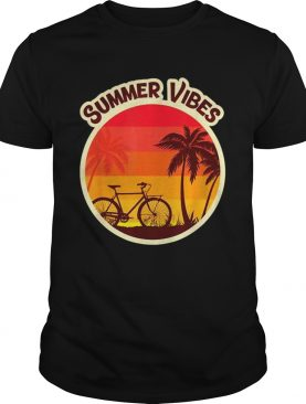 Summer Vibes Beach Sunset Bicycle and Palm Tree shirt