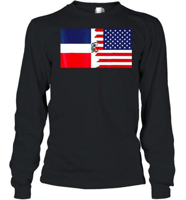 Dominican American Half Dominican Republic Flag T- Long Sleeved T-shirt