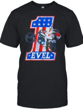 Evel Motorcycle American Flag One Number T-Shirt